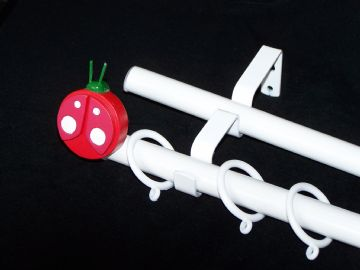 19/19mm Double Layer White Childrens  LADYBIRD Curtain Pole 1.2m 1.5m 2.4m 3m